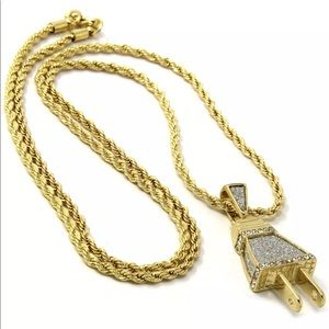 Gold plated iced out plug